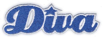 """Embroidery Design: Diva3.55"""" x 1.18"""""""