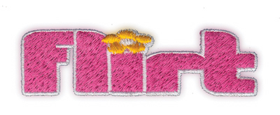 "Embroidery Design: Flirt3.37"" x 1.00"""