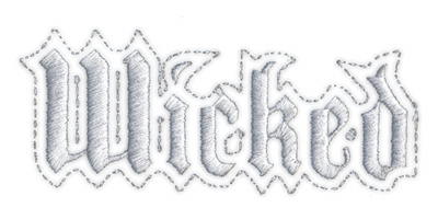 """Embroidery Design: Wicked3.94"""" x 1.61"""""""