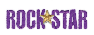 """Embroidery Design: Rock Star3.96"""" x 1"""""""