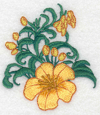 """Embroidery Design: Yellow trumpet with buds small realistic  3.83""""h x 3.38""""w"""