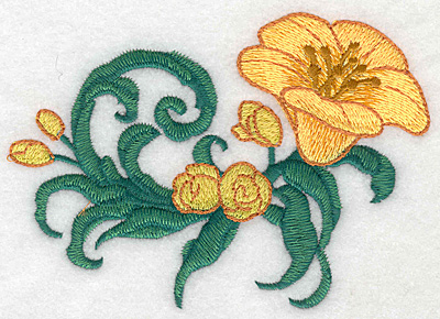 """Embroidery Design: Yellow trumpet large realistic  3.80""""h x 5.25""""w"""