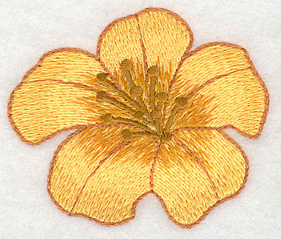 "Embroidery Design: Yellow trumpet bloom small realistic  2.51""h x 2.98""w"