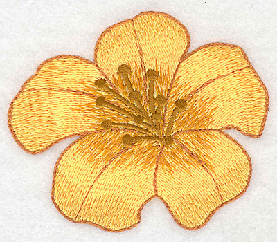 """Embroidery Design: Yellow trumpet bloom large realistic  3.13""""h x 3.73""""w"""
