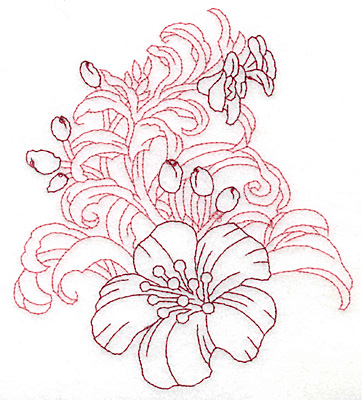 """Embroidery Design: Yellow trumpet with buds large redwork  5.64""""h x 4.8""""w"""