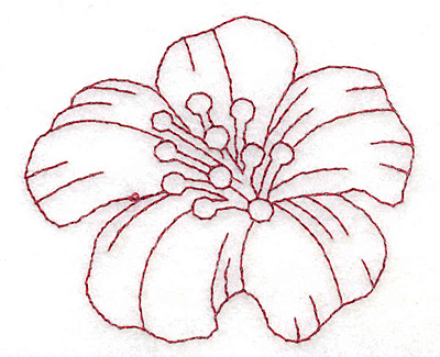 """Embroidery Design: Yellow trumpet bloom small redwork  2.49""""h x 2.95""""w"""