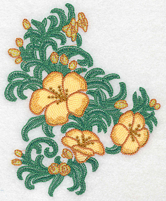 """Embroidery Design: Yellow trumpet cluster verticle artistic  6.20""""h x 4.98""""w"""