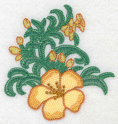 """Embroidery Design: Yellow trumpet with buds small artistic  3.90""""h x 3.65""""w"""