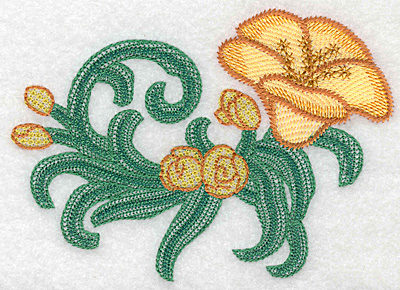 """Embroidery Design: Yelow trumpet large artistic  3.86""""h x 5.25""""w"""