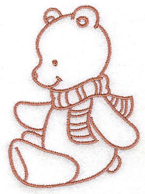 Embroidery Design: Bear wearing scarf small 2.58w X 3.54h