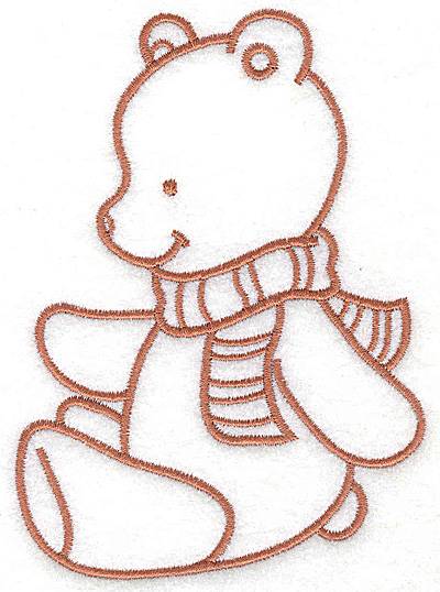 Embroidery Design: Bear wearing scarf large 3.59w X 4.94h