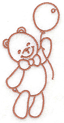 Embroidery Design: Bear with balloon small 1.91w X 3.89h