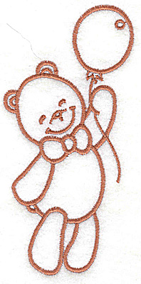 Embroidery Design: Bear with balloon large 2.45w X 4.96h
