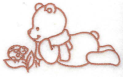 Embroidery Design: Bear with ladybug small 3.85w X 2.29h