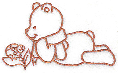 Embroidery Design: Bear with ladybug large 4.92w X 2.91h
