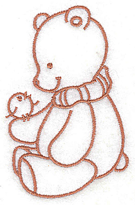 Embroidery Design: Bear with bird small 2.44w X 3.81h