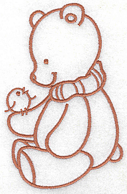 Embroidery Design: Bear with bird large 3.14w X 4.91h