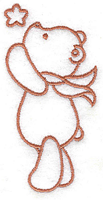 Embroidery Design: Bear reaching for star small 1.95w X 3.81h