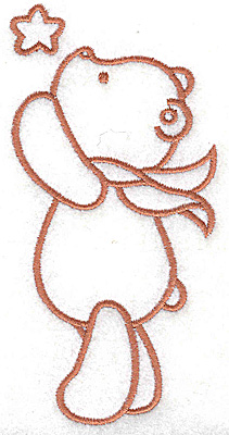 Embroidery Design: Bear reaching for star large 2.52w X 4.92h