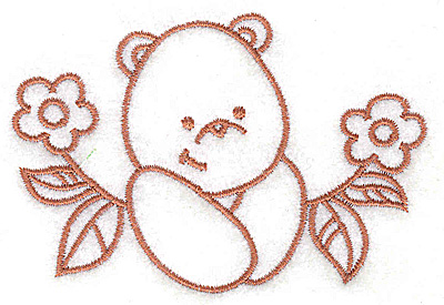 Embroidery Design: Bear amid flowers small 3.69w X 2.53h