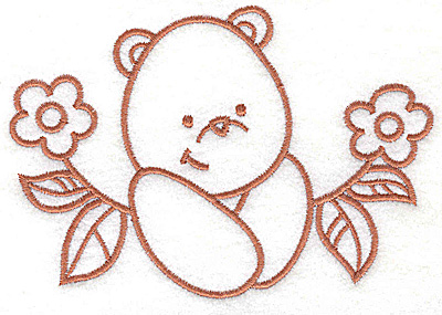 Embroidery Design: Bear amid flowers large 4.97w X 3.41h