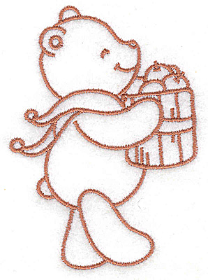 Embroidery Design: Bear carrying basket of apples small 2.72w X 3.82h
