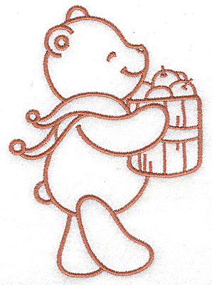 Embroidery Design: Bear carrying basket of apples large 3.50w X 4.93h