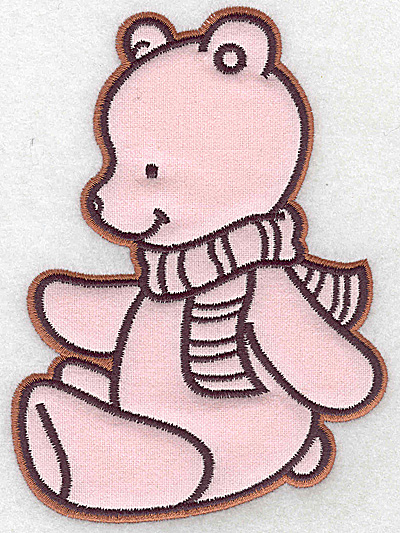 Embroidery Design: Bear wearing scarf applique 4.47w X 6.08h