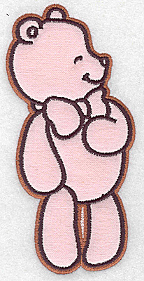 Embroidery Design: Bear wearing bow tie applique 2.89w X 6.10h