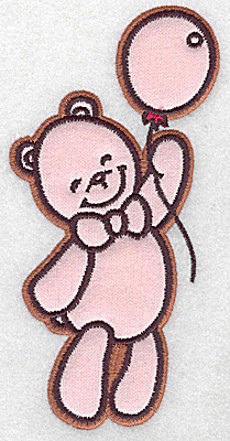 Embroidery Design: Bear with balloon applique 3.08w X 6.09h