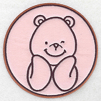 Embroidery Design: Bear in circle applique 5.40w X 5.40h