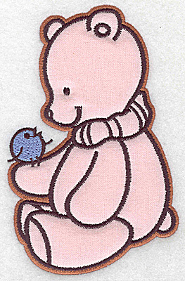 Embroidery Design: Bear with bird applique 3.85w X 6.05h