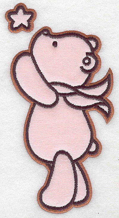 Embroidery Design: Bear reaching for star applique 3.23w X 6.20h