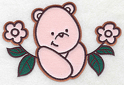 Embroidery Design: Bear amid flowers applique 6.29w X 4.25h