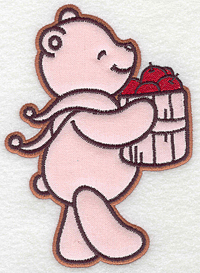 Embroidery Design: Bear carrying basket of apples applique 4.35w X 6.06h