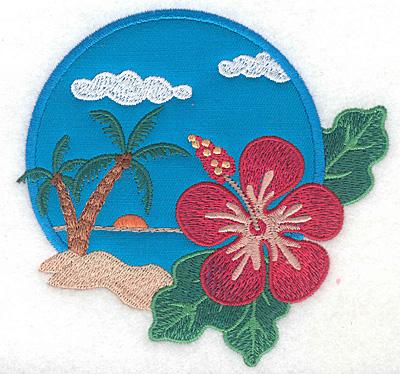"""Embroidery Design: Hawaiian Scene applique small  4.61""""h x 4.80""""w"""