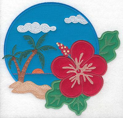 "Embroidery Design: Hawaiian Scene triple applique large  7.54""h x 7.84""w"