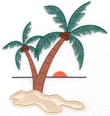 """Embroidery Design: Palm tree scene applique  7.32""""h x 6.74""""w"""