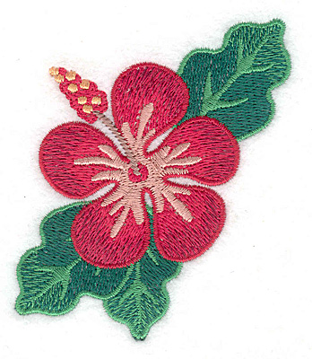 """Embroidery Design: Hibiscus  3.39""""h x 3.06""""w"""