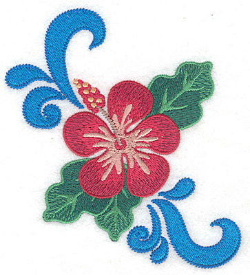 """Embroidery Design: Hibiscus with swirls  4.77""""h x 4.50""""w"""