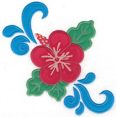 "Embroidery Design: Hibiscus large triple applique  7.48""h x 7.15""w"