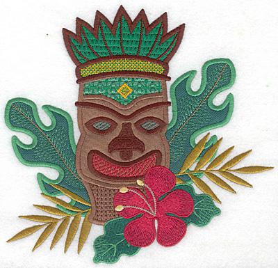 "Embroidery Design: Tiki large three applique  7.38""h x 7.67""w"