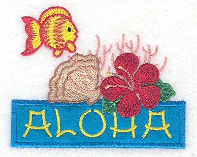 """Embroidery Design: Aloha applique scene small  3.57""""h x 4.40""""w"""