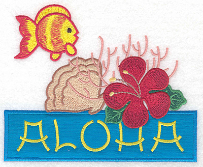 "Embroidery Design: Aloha applique scene large  5.67""h x 6.95""w"