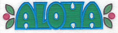 "Embroidery Design: Aloha applique   1.80""h x 6.94""w"