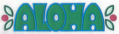 "Embroidery Design: Aloha double applique  2.53""h x 9.78""w"