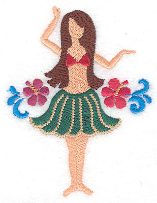 "Embroidery Design: Hula dancer  3.80""h x 2.88""w"