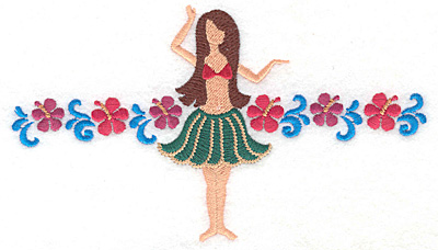 """Embroidery Design: Hula dancer with flowers  3.80""""h x 6.63""""w"""