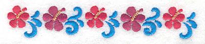 "Embroidery Design: Hibiscus border  0.78""h x 4.60""w"