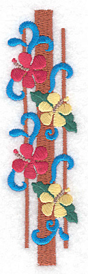 """Embroidery Design: Flowers vertical small  4.92""""h x 1.36""""w"""